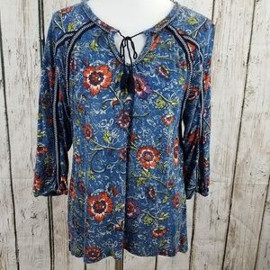 Lucky Brand Boho Peasant Top Blue Floral Hi Low L